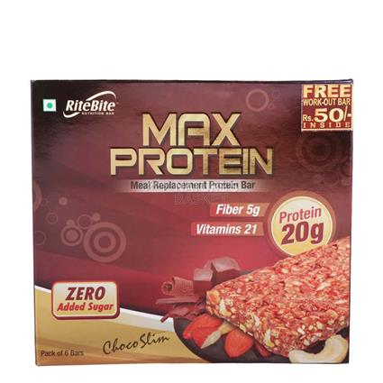 Max Protein Choco Slim Bar (Pack Of 6 Bars) - Ritebite