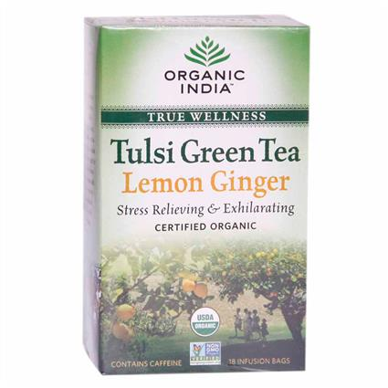 Tulsi Lemon Ginger Green Tea - 18 TB - Organic India