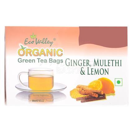 Organic Green Tea W/ Ginger, Mulethi & Lemon  -  30 TB - Eco Valley