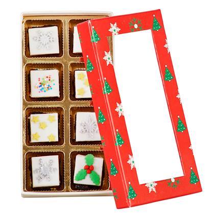 Mini Christmas Brownie Squares W/ Marzipan And Fondant (8Pcs)