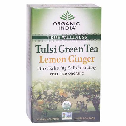Tulsi Lemon Ginger Green Tea - 18 TB - Organic India