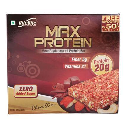 Max Protein Choco Slim Bar (Pack Of 6 Bars) - Ritebite