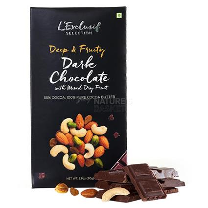 Dark Chocolate Bar W/ Mixed Dry Fruit - L'exclusif