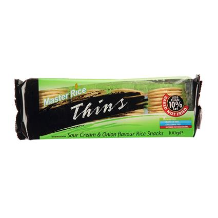Thins Sour Cream & Onion Flavour Rice Snacks - Master Rice