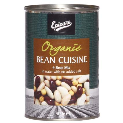 Organic Bean Cuisine 4 Bean Mix In Water  -  No Added Salt - Epicure