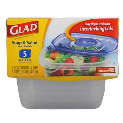 GLAD SOUP AND SALAD CONATINERS 5 NO