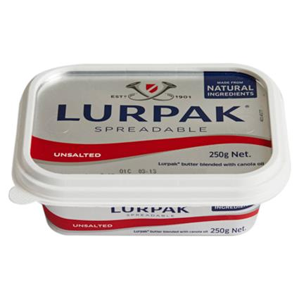 BUTTER SPREADABLE UNSALTED 250G