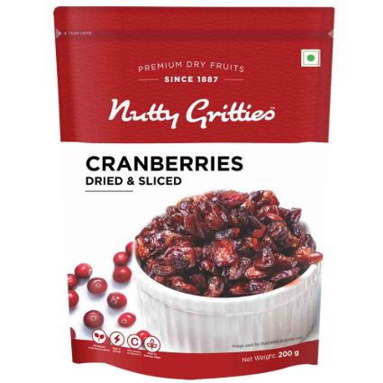 NUTTY GRITTIES CRANBERRIES SLICED 200G