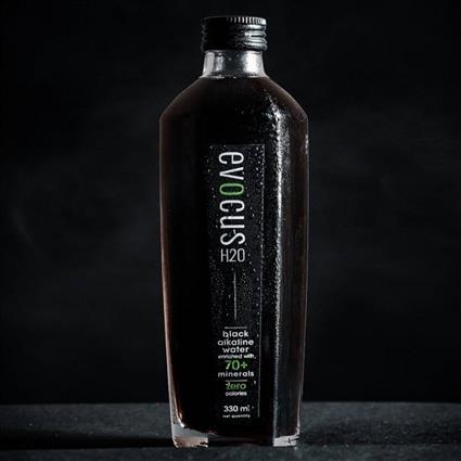 EVOCUS BLACK ALKALINE WATER 330ML GLASS