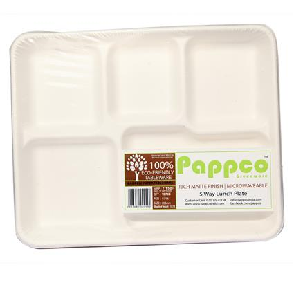 Disposable 5 Way Lunch Plate - 10 Pcs - Pappco