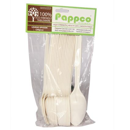 Biodegradable Large Spoon - 20 Pcs - Pappco