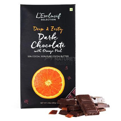 L EXCLUSIF ORANGE DARK CHOCOLATE BAR 80G