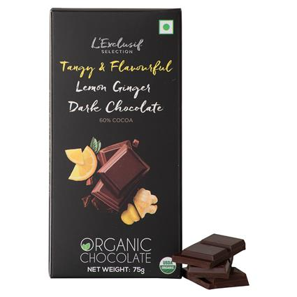 Lemon Ginger Dark Chocolate Bar - L'exclusif