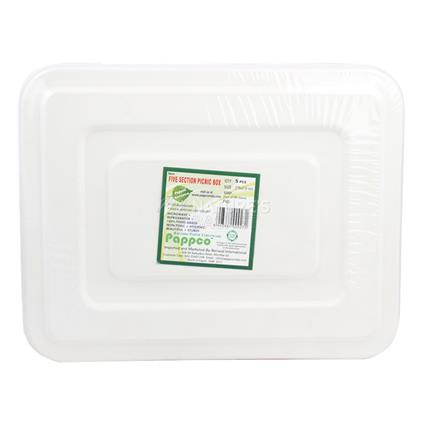 Five Section Picnic Box  -  Pack Of 5 Pcs - Pappco
