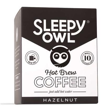Sleepy Owl Hot Brew Coffe Bag, Hazelnut, Set Of 10