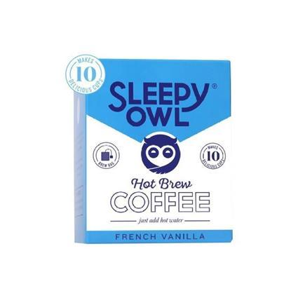 Sleepy Owl Hot Brew Coffe Bag, French Vanilla, Set Of 10