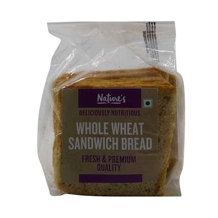NATURES WHOLE WHEAT SANDWICH BREAD 150G