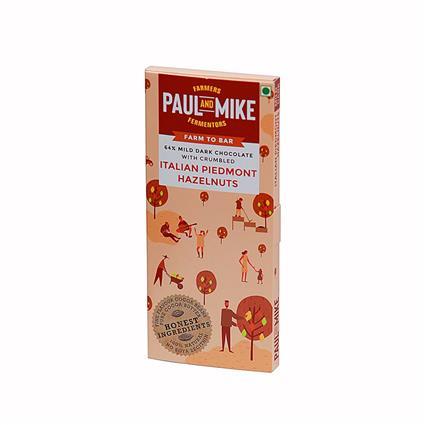 64% MILD DARK BEAN TO BAR CHOCOLATE WITH CRUMBLED ITALIAN PIEDMONT HAZELNUT - PAUL & MIKE