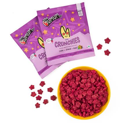Healthy Supergrain Roasted Puff Snacks, Beetroot Crunchies - The Mumum Co.